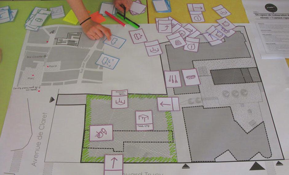 Positionnement des fonctions et circulations du futur espace de restauration